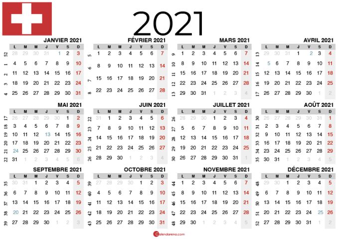 Calendrier 2021 à imprimer suisse Paysage2