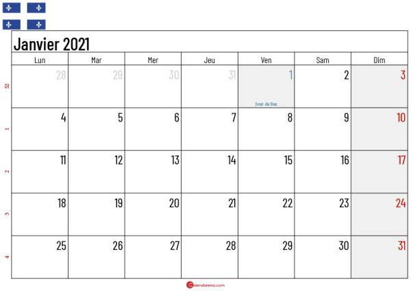 Calendrier Janvier 2021 Québec