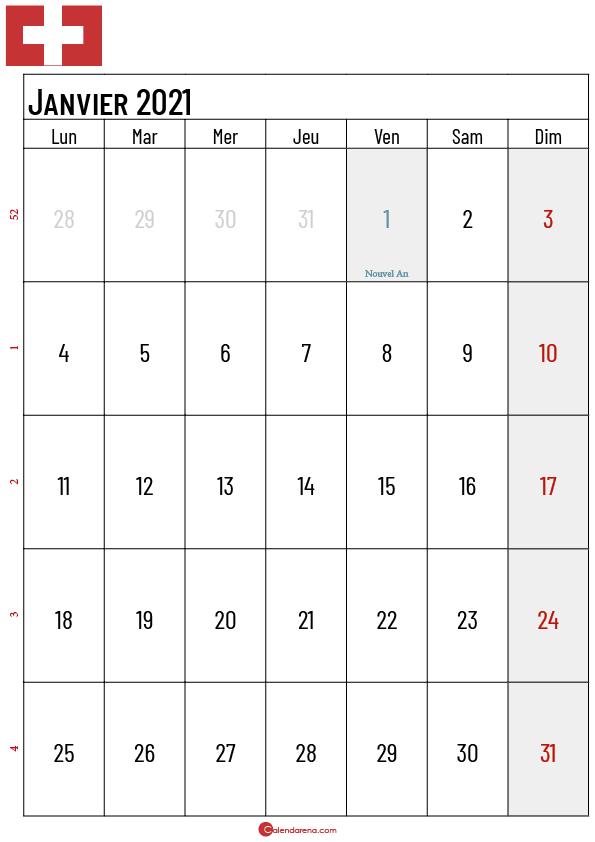 Calendrier Janvier 2021 suisse3