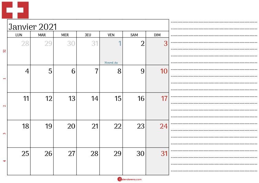 Calendrier Janvier 2021 suisse_note