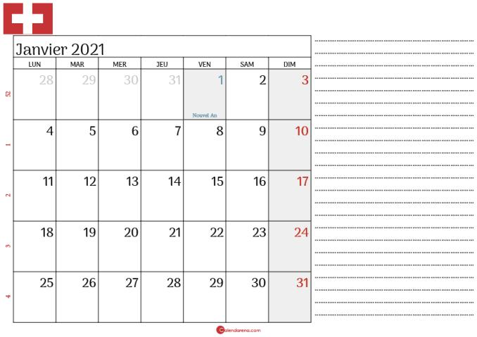 Calendrier Janvier 2021 suisse note