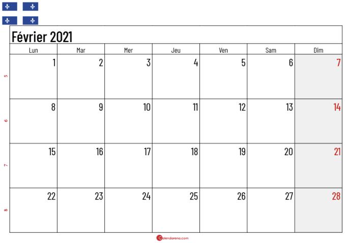 Calendrier fevrier 2021 Québec