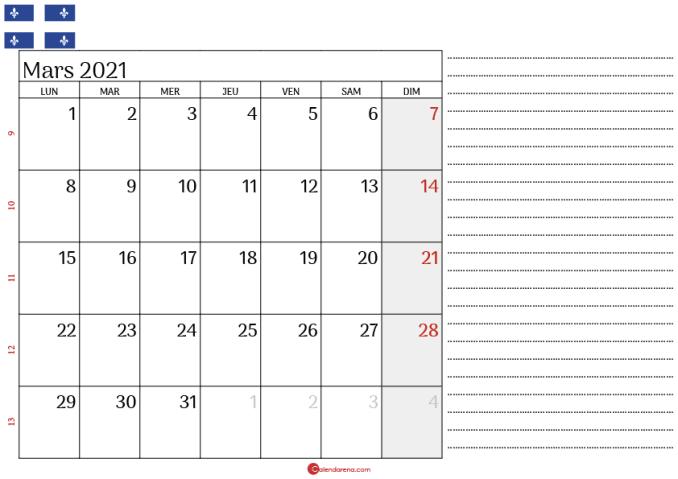 Calendrier mars 2021 Québec_3