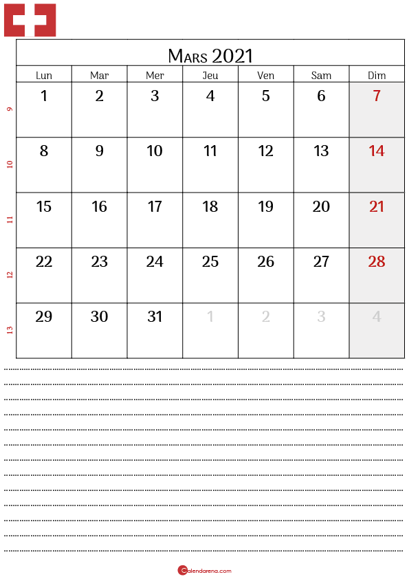 Calendrier mars 2021 suisse4