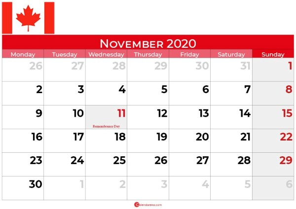 Canada november 2020 calendar landscape
