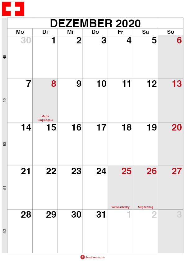 Kalender Schweiz Dezember 2020 quorformat