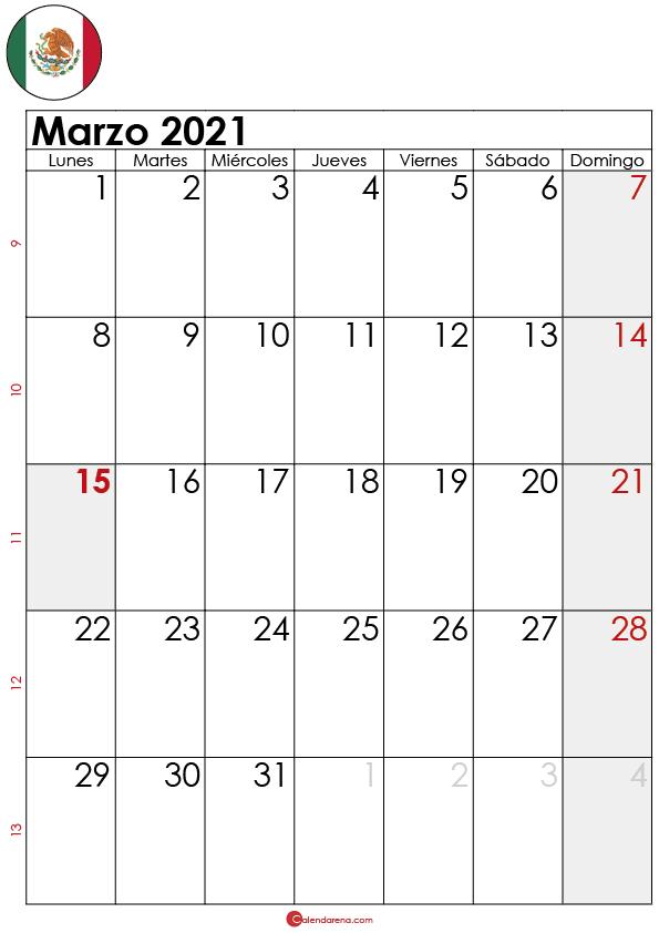 calendario Marzo 2021 para imprimir MX