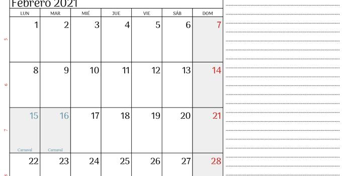 calendario febrero 2021 Argentina2