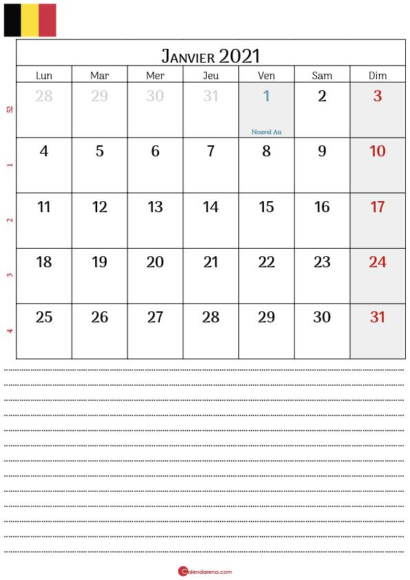 calendrier janvier 2021 belgique_notesP