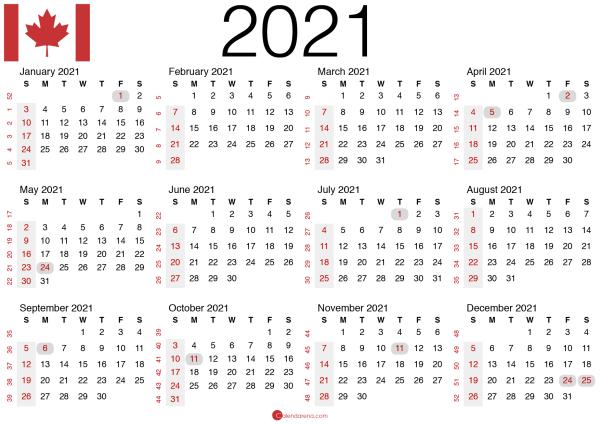 canadian calendar 2021