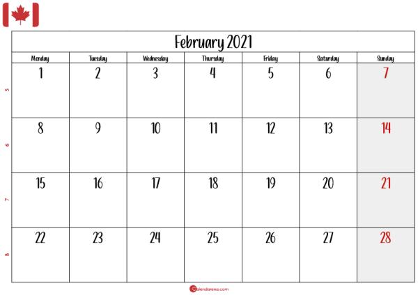 february 2021 calendar printable ca