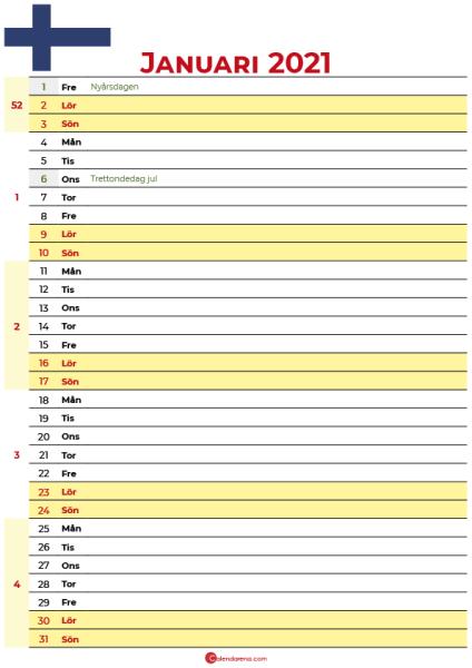 januari 2021 kalender finland