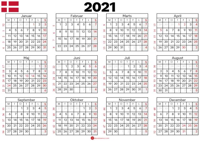 kalender 2021 med uger
