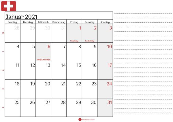 kalender januar 2021 Schweiz2