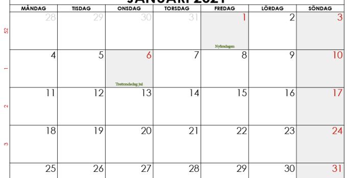 kalender januari 2021 sverige
