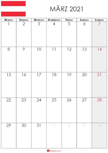 kalender märz 2021 Österreich hochformat