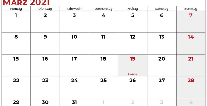 kalender märz 2021 Schweiz