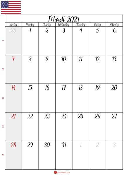 blank march 2021 calendar