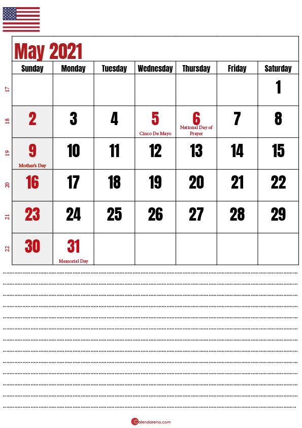 2021 may calendar notes