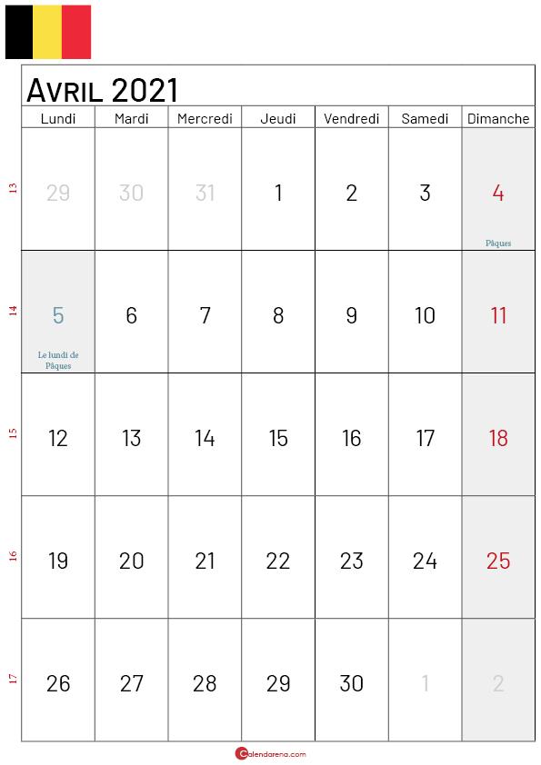 calendrier avril 2021 belgique-p