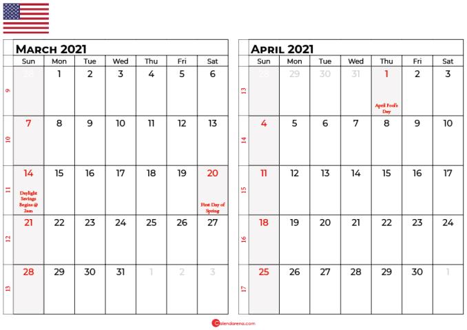 march april 2021 calendar