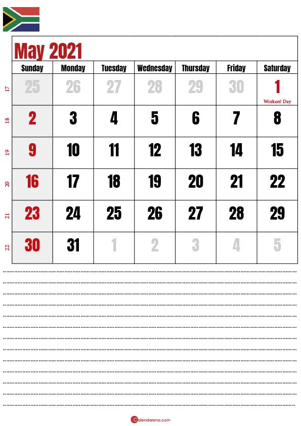 2021 may calendar notes SA