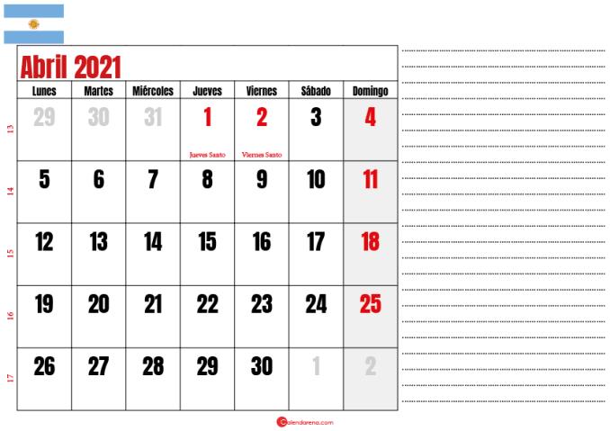 abril 2021 calendario argentina