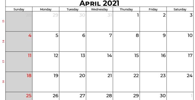 april calendar 2021 UK