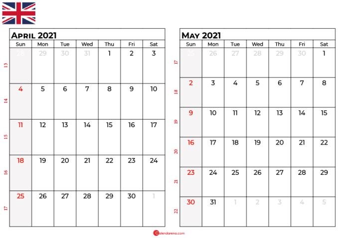 april may 2021 calendar UK