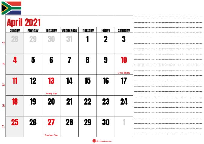 calendar 2021 april notes SA