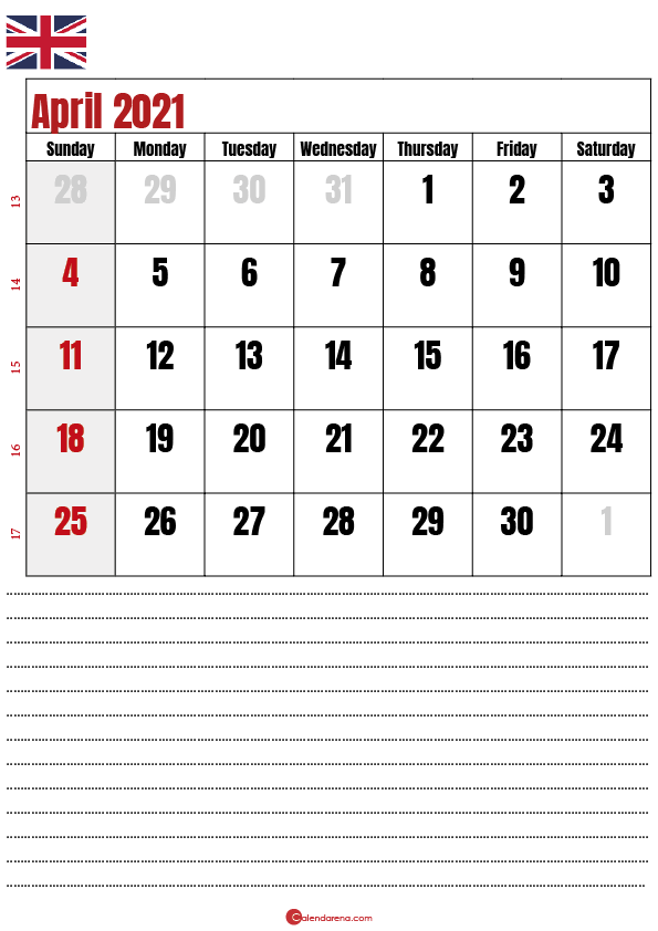 calendar 2021 april notes UK