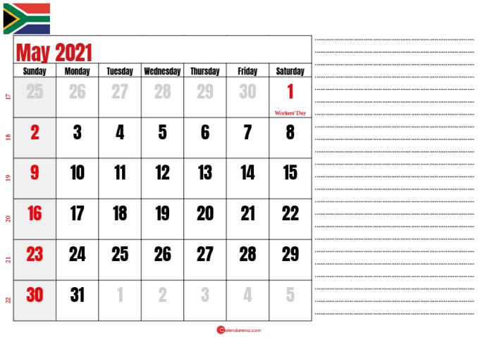 calendar 2021 may notes SA