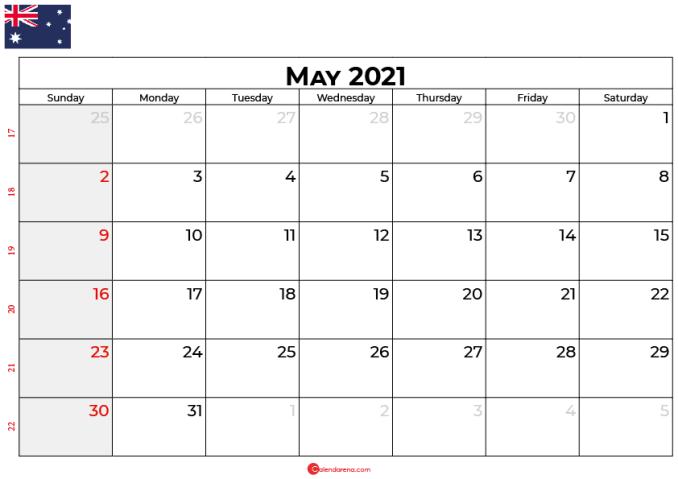 calendar may 2021 AU