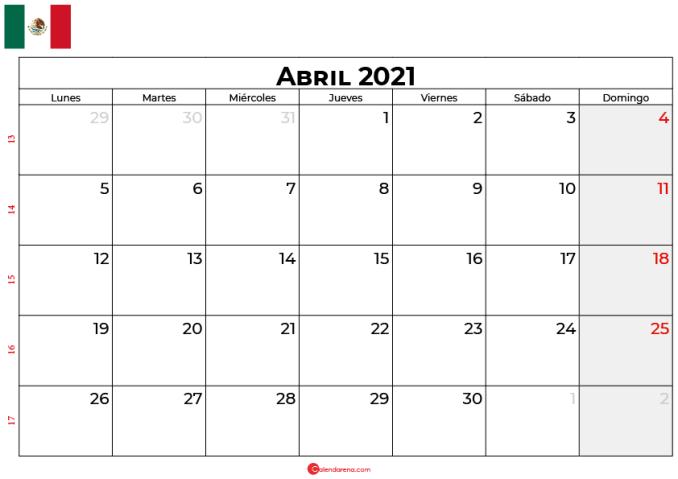 calendario 2021 abril mexico