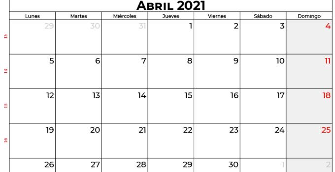 Calendario abril 2021 Mexico