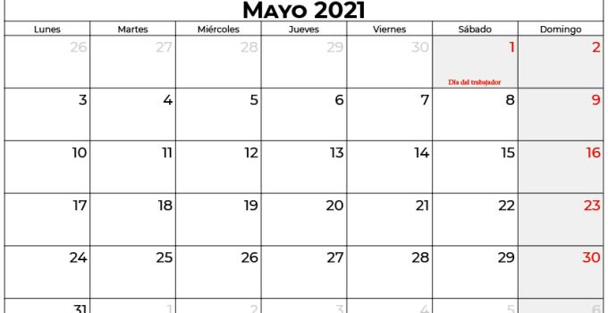 calendario 2021 mayo espana