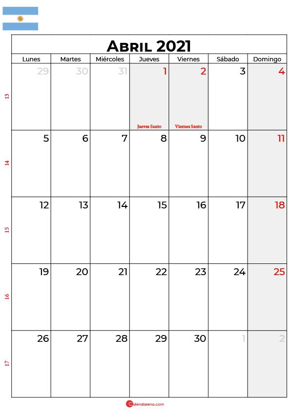 calendario abril 2021 argentina