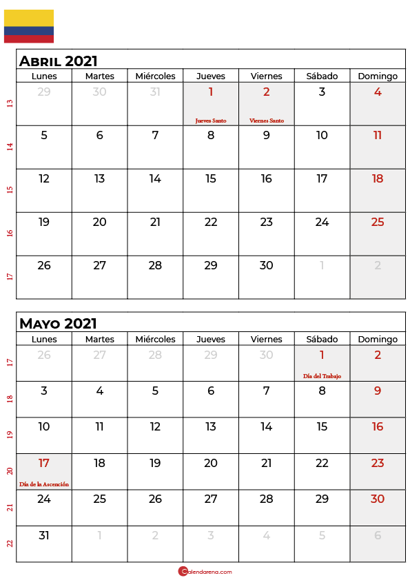 calendario abril mayo 2021 colombia
