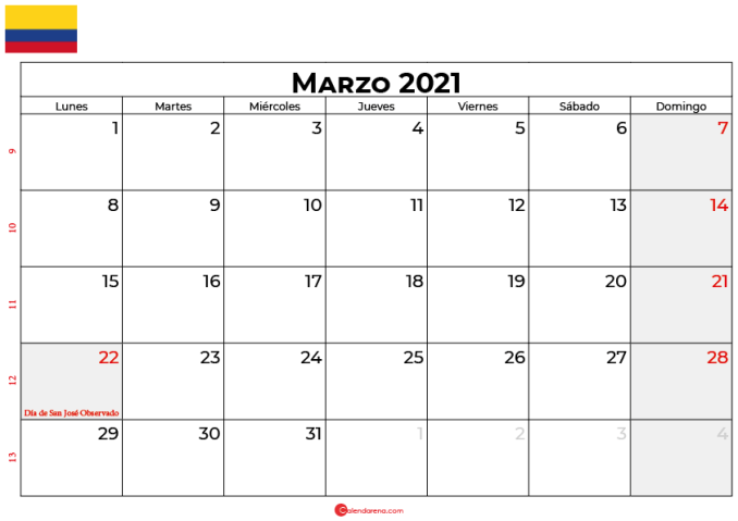 calendario marzo 2021 colombia