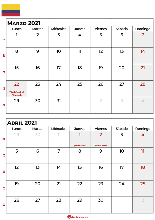 calendario marzo abril 2021 colombia