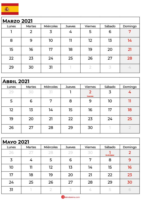 calendario marzo abril mayo 2021 espana