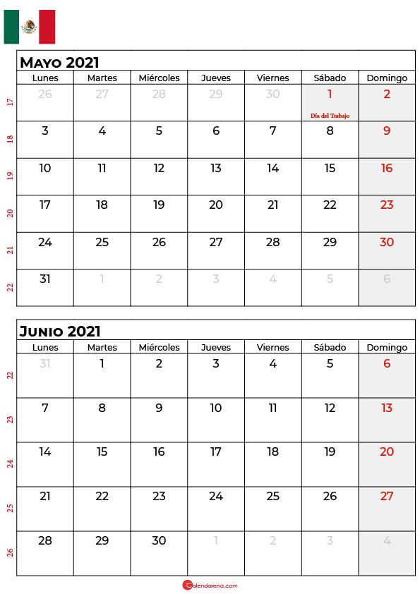 calendario mayo junio 2021 mexico