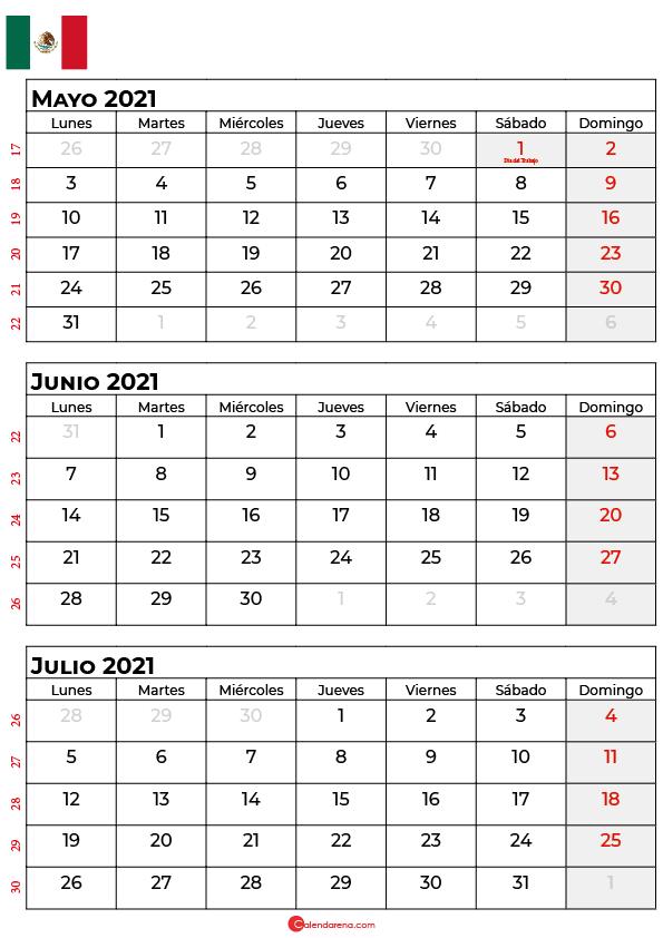 calendario mayo junio julio 2021 mexico