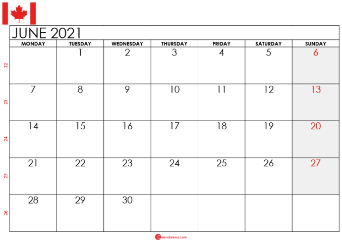 june 2021 calendar canada
