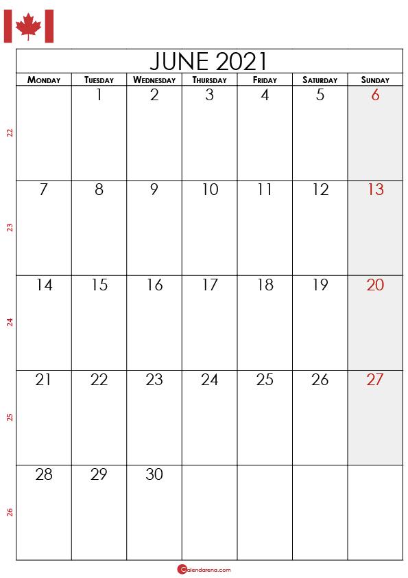 june calendar 2021 canada