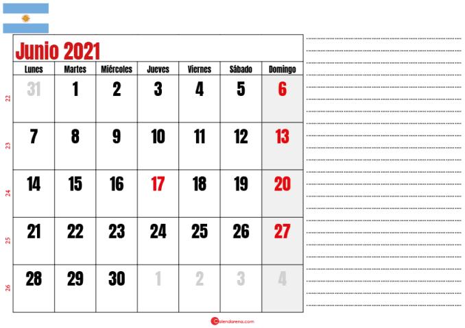 junio 2021 calendario argentina