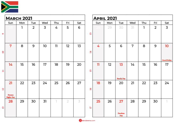 march and april 2021 calendar sa