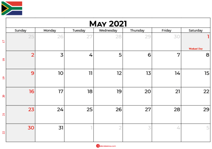 may 2021 calendar SA