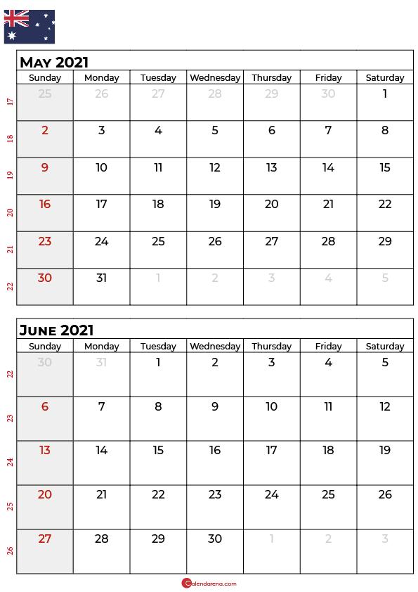 may june 2021 calendar AU