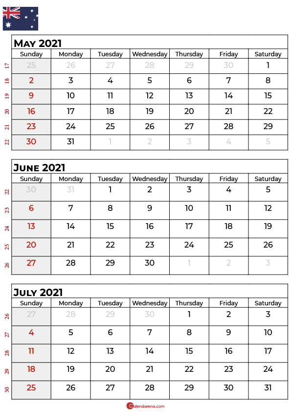 may june july 2021 calendar AU